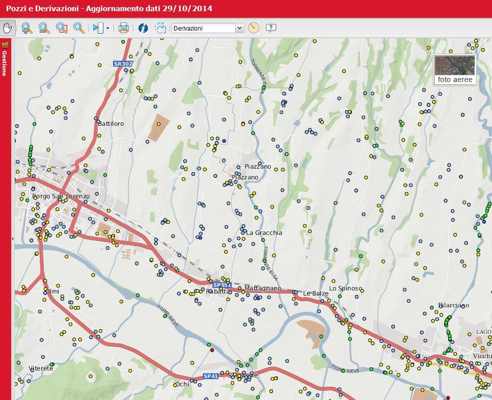 Pozzi e derivazioni sul sito della Città metropolitana di Firenze