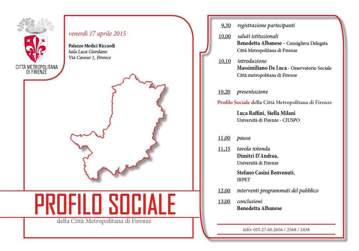 Invito e programma della presentazione del Profilo sociale della Città metropolitana di Firenze