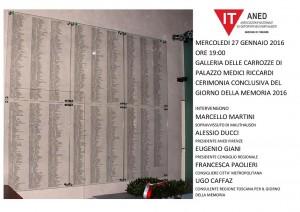Invito Giornata della Memoria 2016 in Palazzo Medici Riccardi