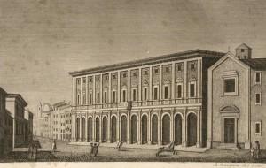 Il Palazzo della Questura di Firenze in una stampa d'epoca