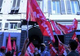 Manifestazione lavoratori appalto Alia-Selezione Carta