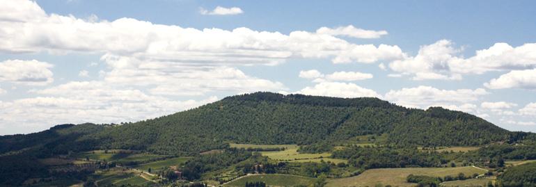 Il sentiero CAI 2 sale da S. Clemente (a sinistra) sul Poggio Pratone (702m) , poi su Poggio Guadagni (654 m) poi scende al Passo della Catena, a destra (di Pontassieve Natura www.pontassievenatura.it)