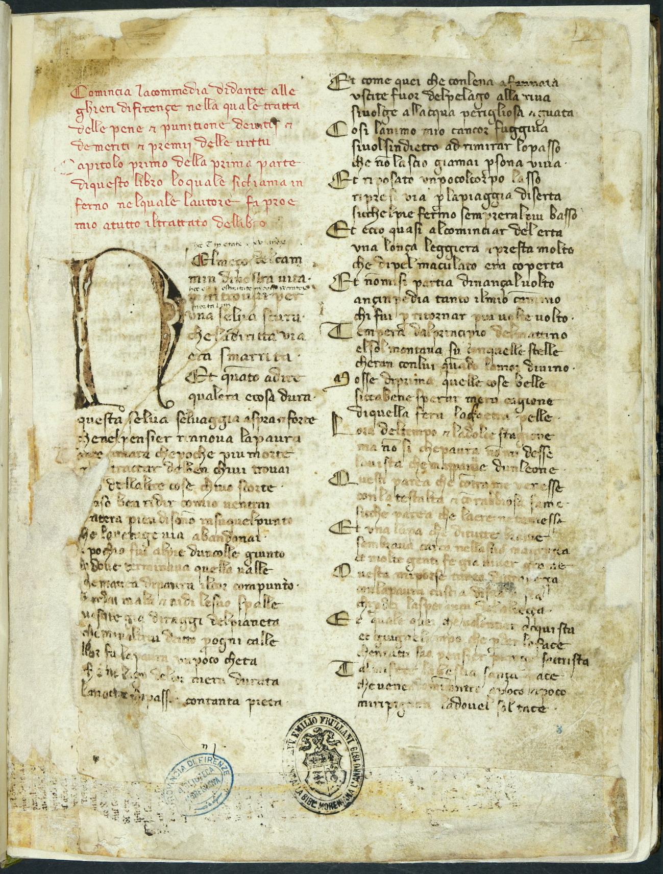 Codice della Divina Commedia di Dante
