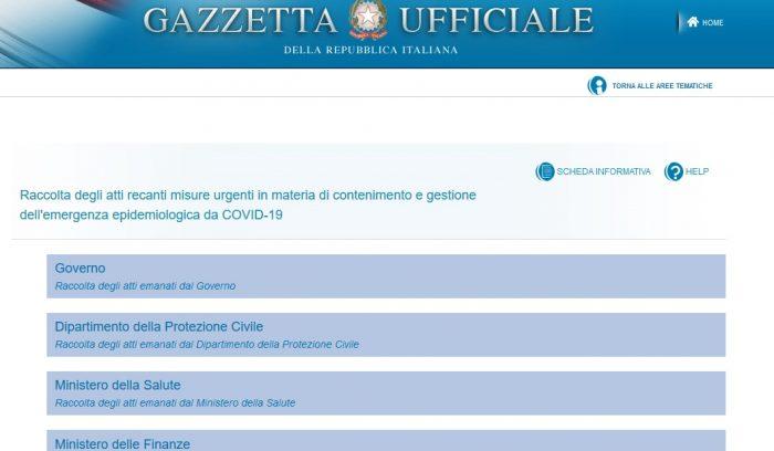 Gazzetta Ufficiale, copertina Raccolta atti su Covid 19