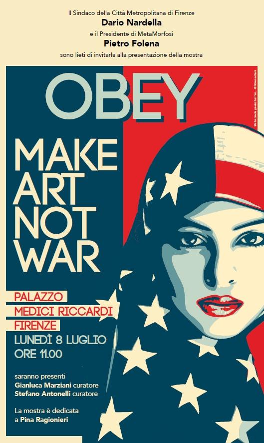 L'invito per la mostra di Obey in Palazzo Medici Riccardi