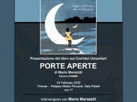 La locandina della presentazione del libro 'Porte aperte' di Mario Marazziti