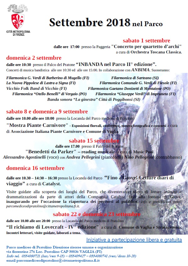 Locandina del programma di eventi a Pratolino