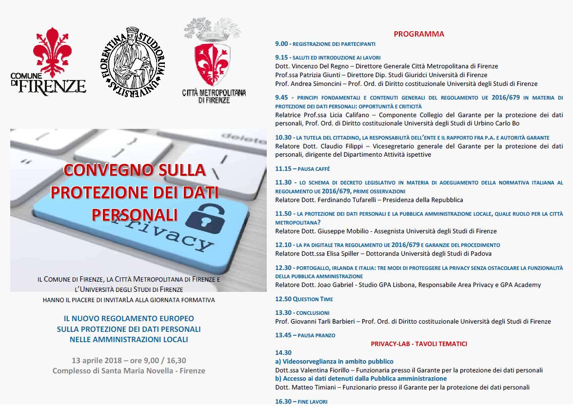 Il programma del convegno su Enti locali e protezione dei dati personali