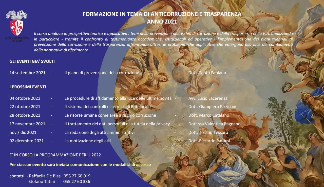 Programma dei corsi organizzati dalla Segreteria Generale della Città Metropolitana di Firenze