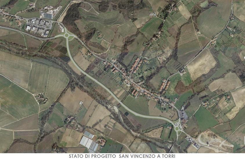 Un'immagine dello stato di progetto della variante di San Vincenzo a Torrri